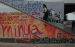La Minga graffiti on campus